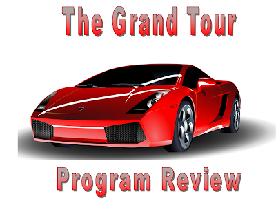 A bright red sports car, lit from above with shadow beneath and the words 'The Grand Tour' Program review.