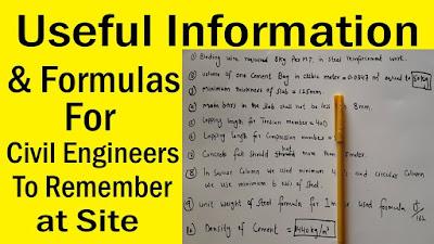 Important Formulas For Civil Engineers