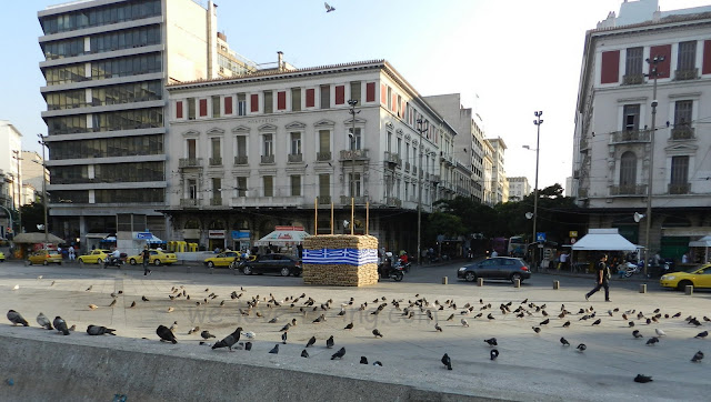 Pigeon covered square surrounded by busy streets and high buildings.