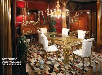 Meja makan Klasik eropa-Toko Mebel jati klasik-Toko jati-furniture klasik mewah-Jual meja makan klasik eropa Emas