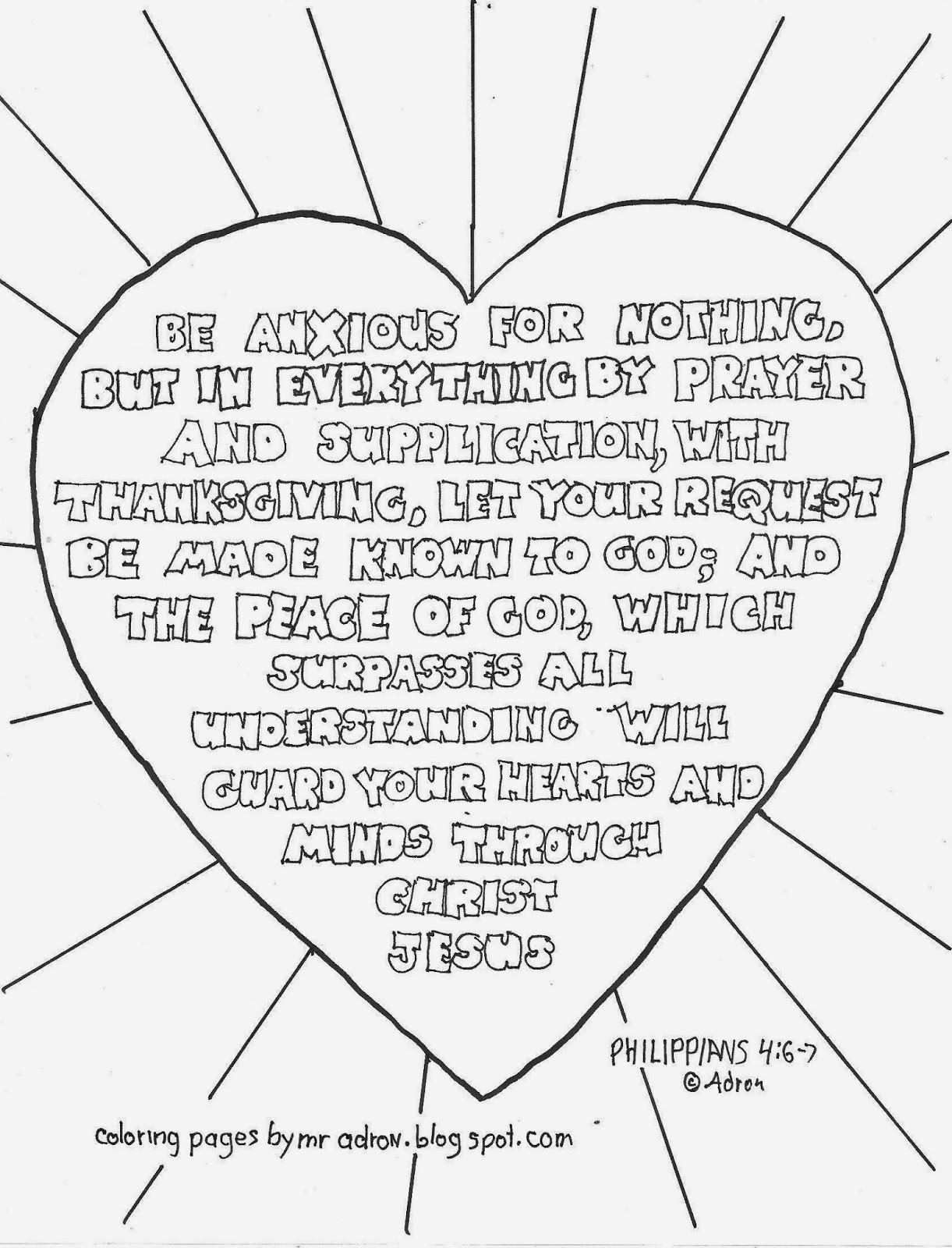 Coloring Pages For Kids By Mr Adron Be Anxious For Nothing Philippians 4 6 7 Free Printable
