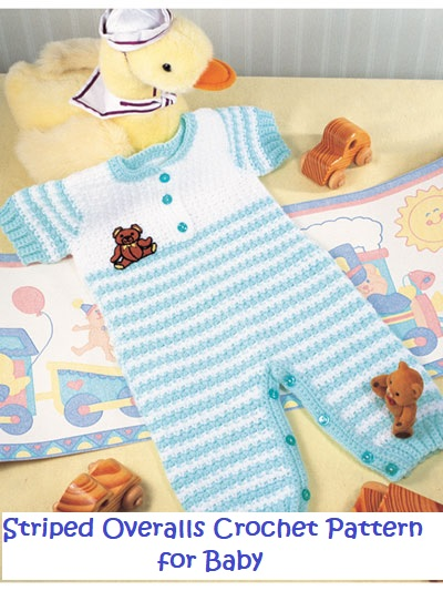 Striped Overalls Crochet Pattern Outfit for Baby