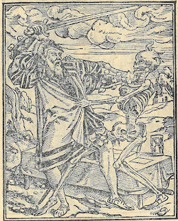 Woodcut image of a nobleman fighting with death. Death is a skeleton and is tugging on the nobleman's robes. The nobleman has a sword drawn and is trying to pull away from death. He has an anquished look on his face.
