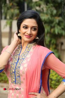 Actress Vimala Raman Stills in Beautiful Pink Salwar Kameez at (ONV) Om Namo Venkatesaya Press Meet  0158.JPG