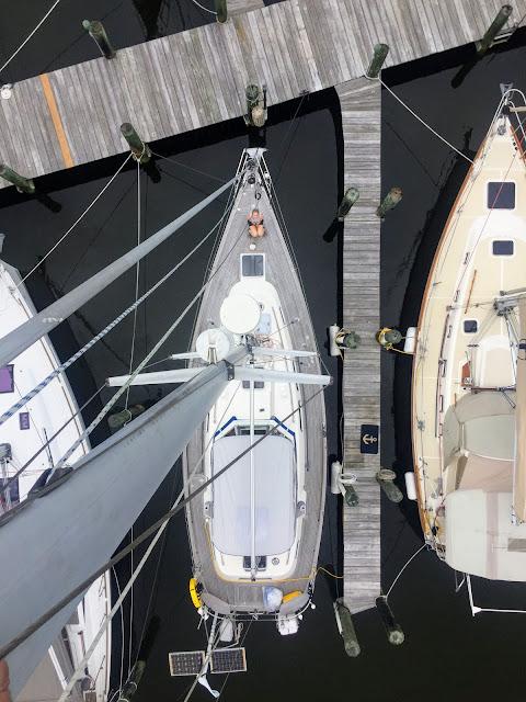Borealis Hallberg Rassy 37 wood decks mast slip