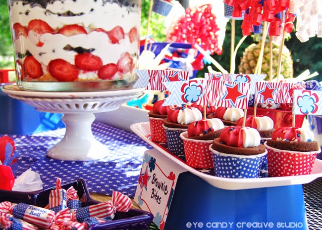 dessert ideas for memorial day, brownie bites, fruit trifle, tootsie rolls