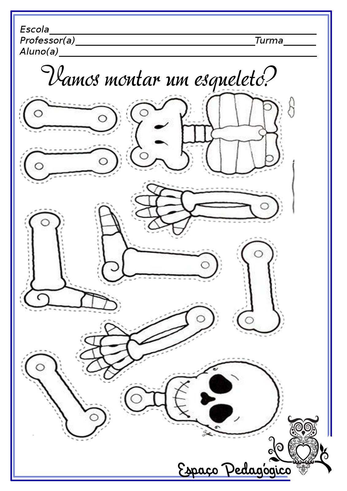 Atividade Desenho Molde Do Esqueleto Para Recortar Pintar E