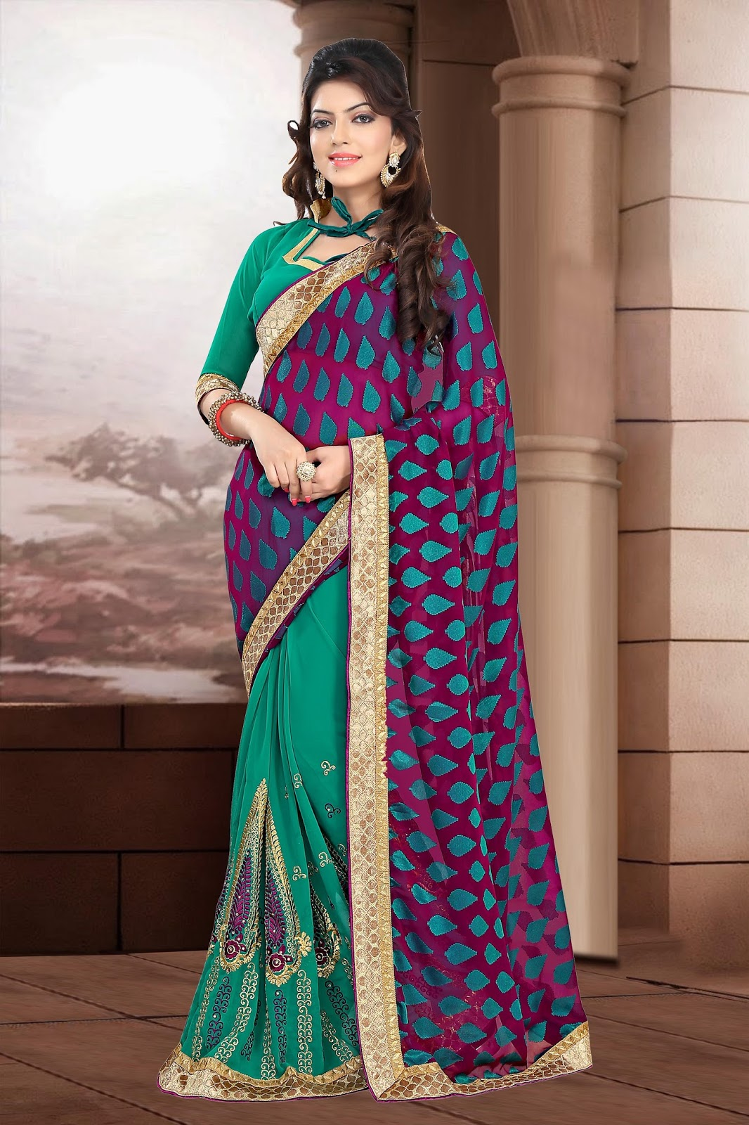 Samaira – Wedding Designer Embroidery Georgette Saree