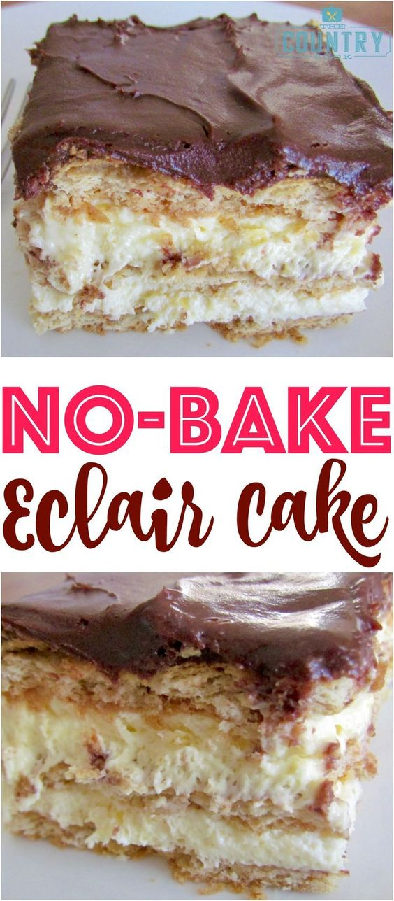NO-BAKE ECLAIR CAKE #nobake #eclair #cake #cakerecipes #dessert #dessertrecipes #easydessertrecipes Desserts, Healthy Food, Easy Recipes, Dinner, Lauch, Delicious, Easy, Holidays Recipe, Special Diet, World Cuisine, Cake, Grill, Appetizers, Healthy Recipes, Drinks, Cooking Method, Italian Recipes, Meat, Vegan Recipes, Cookies, Pasta Recipes, Fruit, Salad, Soup Appetizers, Non Alcoholic Drinks, Meal Planning, Vegetables, Soup, Pastry, Chocolate, Dairy, Alcoholic Drinks, Bulgur Salad, Baking, Snacks, Beef Recipes, Meat Appetizers, Mexican Recipes, Bread, Asian Recipes, Seafood Appetizers, Muffins, Breakfast And Brunch, Condiments, Cupcakes, Cheese, Chicken Recipes, Pie, Coffee, No Bake Desserts, Healthy Snacks, Seafood, Grain, Lunches Dinners, Mexican, Quick Bread, Liquor