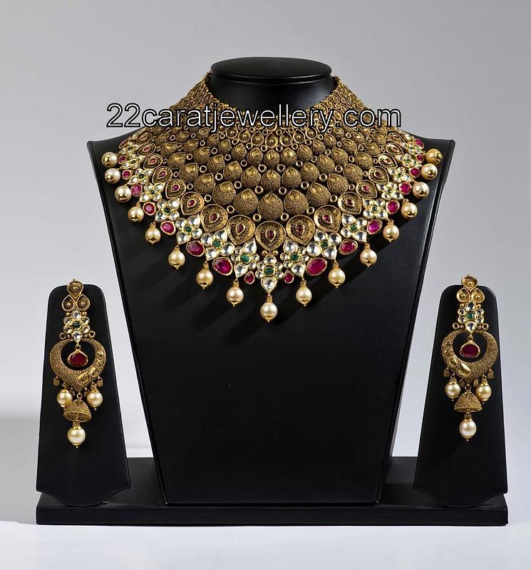 Antique Designer Sets Gold Bridal Necklaces Jewellery Designs