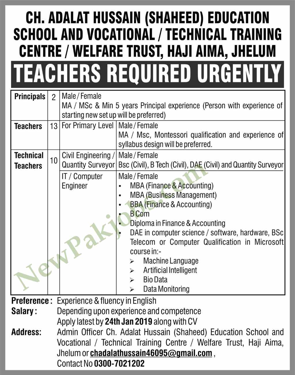 Teachers Jobs in Ch Adalat Hussain shaheed Education
