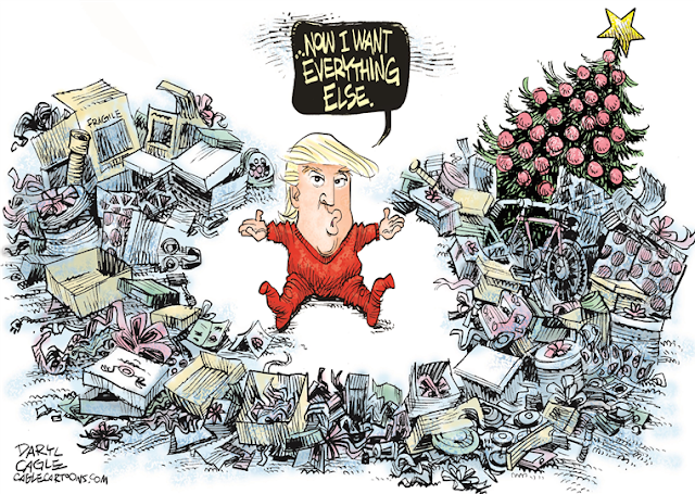 Donald Trump as toddler surrounded by mounds of unwrapped toys next to Christmas tree saying,