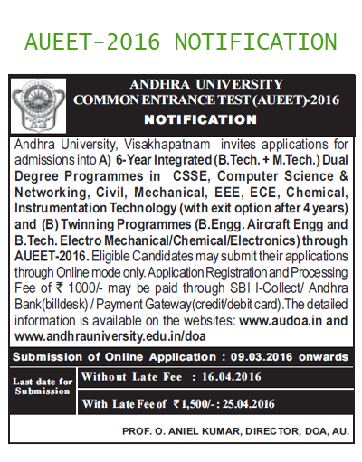 AUEET, AU Engineering Entrance Test, AUEET 2016