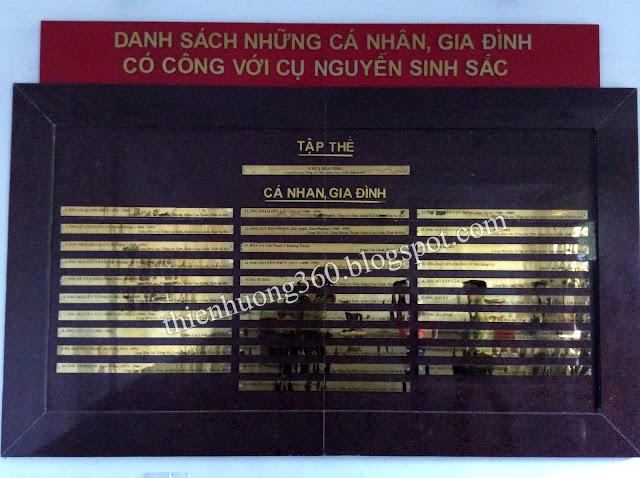 Danh sách những cá nhân, gia đình có công với cụ Nguyễn Sinh Sắc