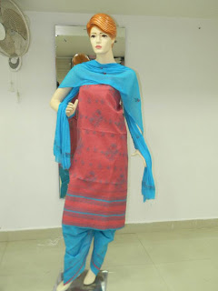 Lucknowi Chikan Red Blue Cotton Dress Material
