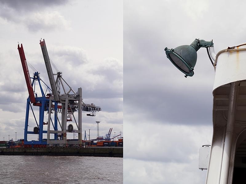 Hamburg Hafen Hafenrundfahrt Landungsbrücken Kran Sommer