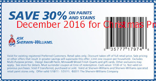 Sherwin Williams coupons for december 2016