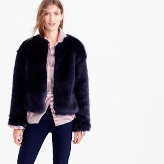 navy faux fur jacket/coat