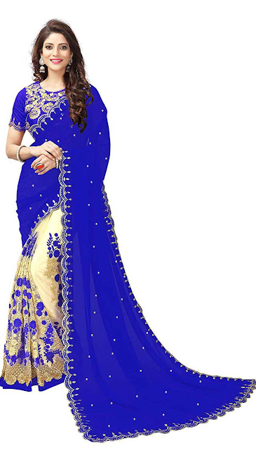 Koroshni Women's Georgette Embroidery Hlaf And Half Saree With Blouse Material - Best selling georgette saree amazon below 1300