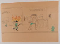 A child's illustration showing looters and a policeman.
