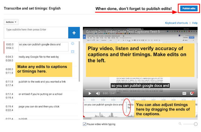 YouTube Captioning Interface with text on the left and video on the right