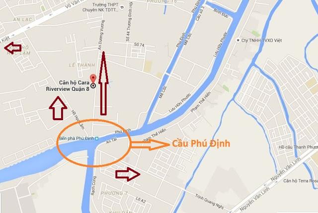 dự án cầu phú định trên bản đồ