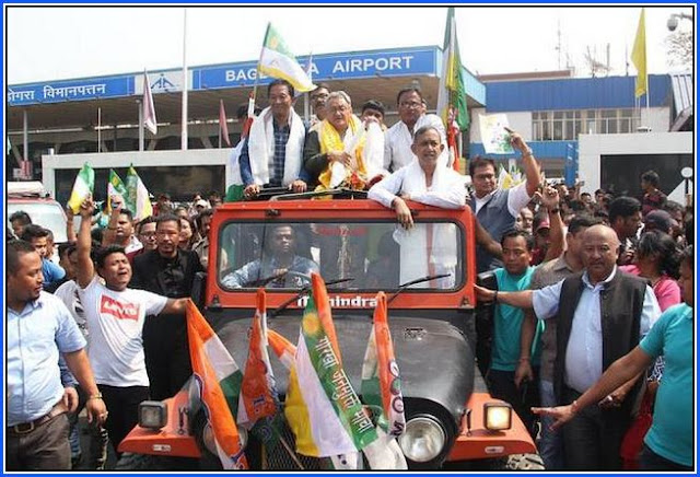 Binay Tamang and Amarsingh Rai campaigning for TMC