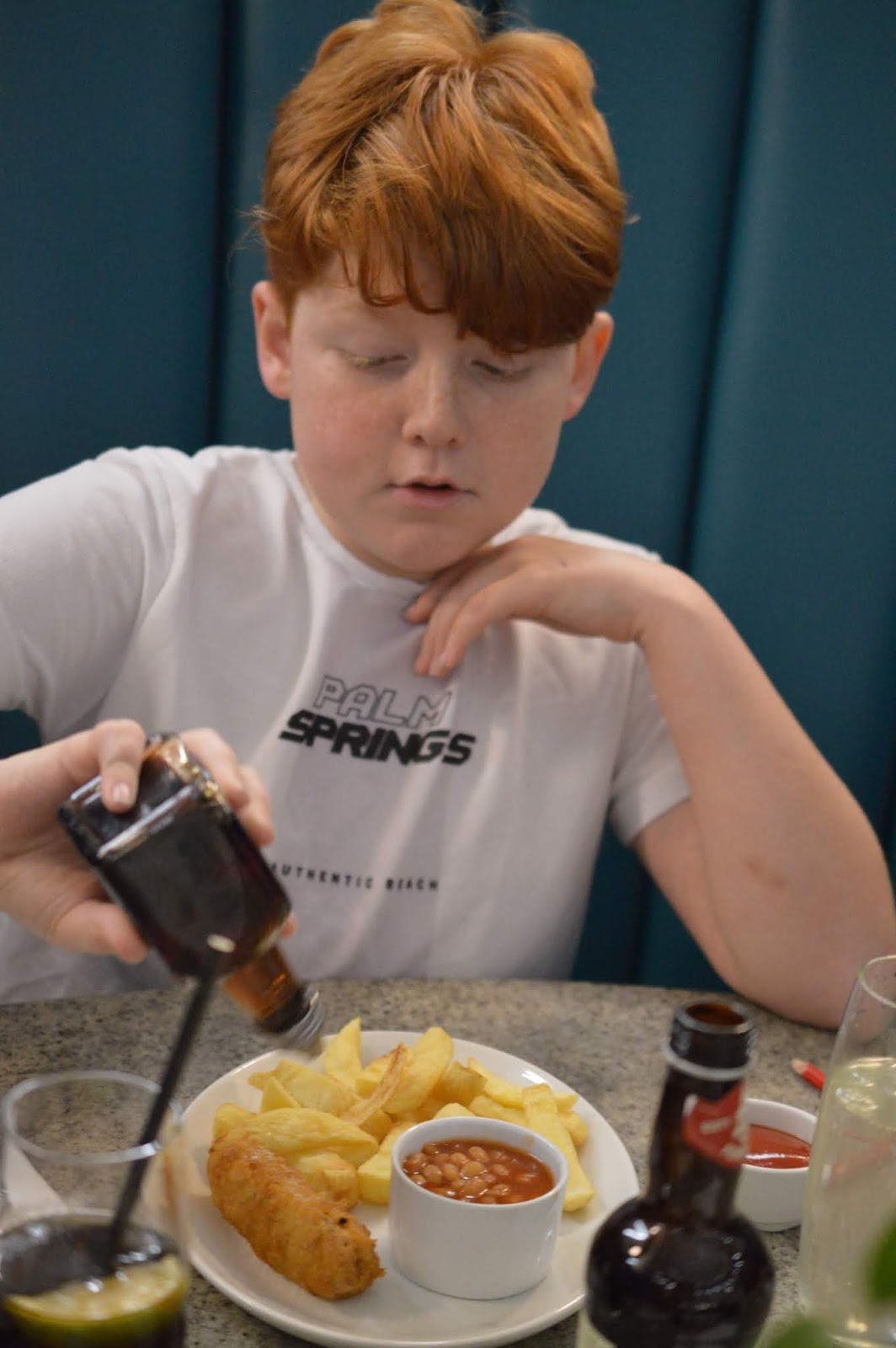 Fish and Chips with Kids at Trenchers, Spanish City - A Review - kids battered sausage and chips