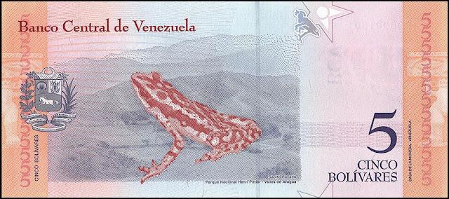 Venezuela Currency 5 Bolivares Soberanos banknote 2018 Rancho Grande harlequin frog