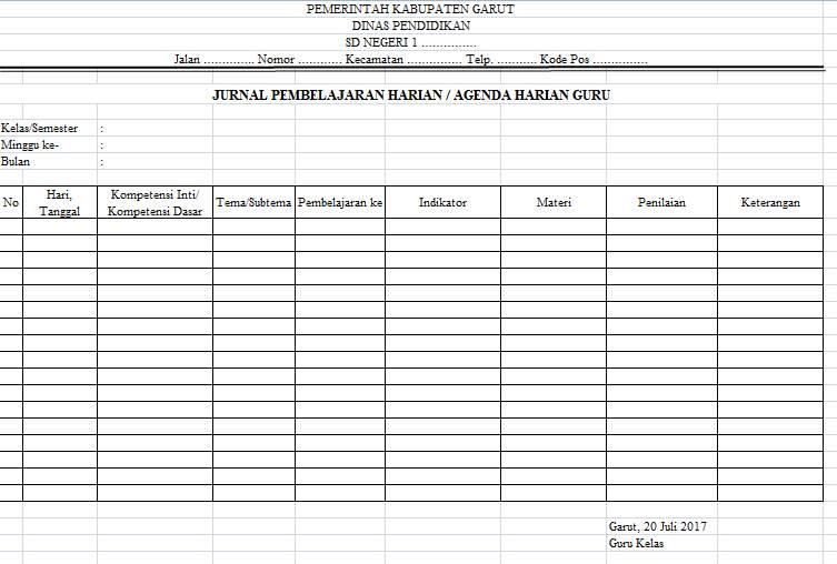 Agenda Harian Guru Sd Kurikulum 2013 Guru Loyal