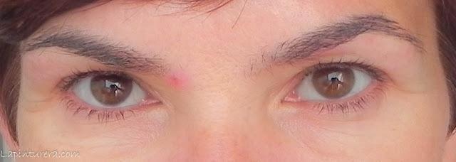 Pestañas antes ojos abiertos