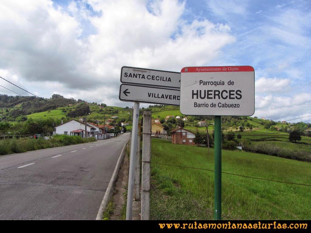 Senda Verde Camocha - Pico Sol - Piles: Parroquia de Huerces, camino al pico del Sol