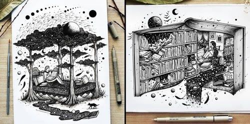 00-Meni-Chatzipanagiotou-Fantasy-and-Surreal-Ink-Illustrations-www-designstack-co