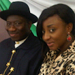 Actress Ini Edo poses with President Jonathan