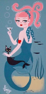 blue mermaid martining cat picture
