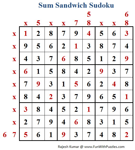 Sum Sandwich Sudoku (Fun With Sudoku #173) Solution