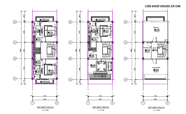 Mặt bằng thiết kế tầng 03 - 04 - 4+