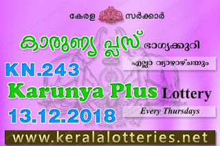 Kerala Lottery Results: 13-12-2018 Karunya Plus KN-243 Lottery Result