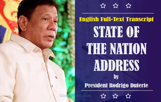 SONA 2016 Full Text English Transcript of President Duterte