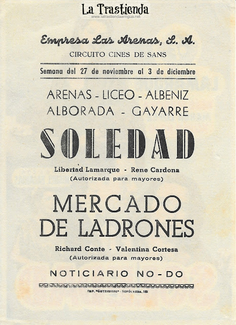 Soledad - Programa de Cine - Libertad Lamarque - René Cardona - Rubén Rojo