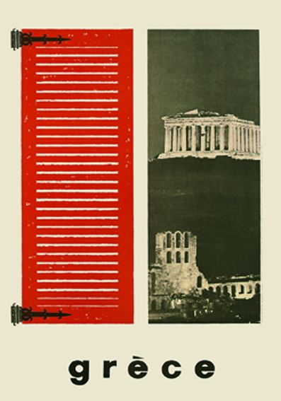 Athens, Parthenon, Greece Vintage travel poster.1960