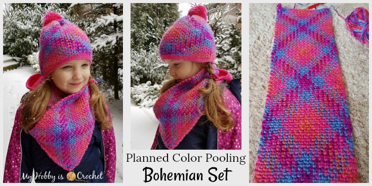 Planned Color Pooling Bohemian Hat & Cowl Set - free crochet patterns