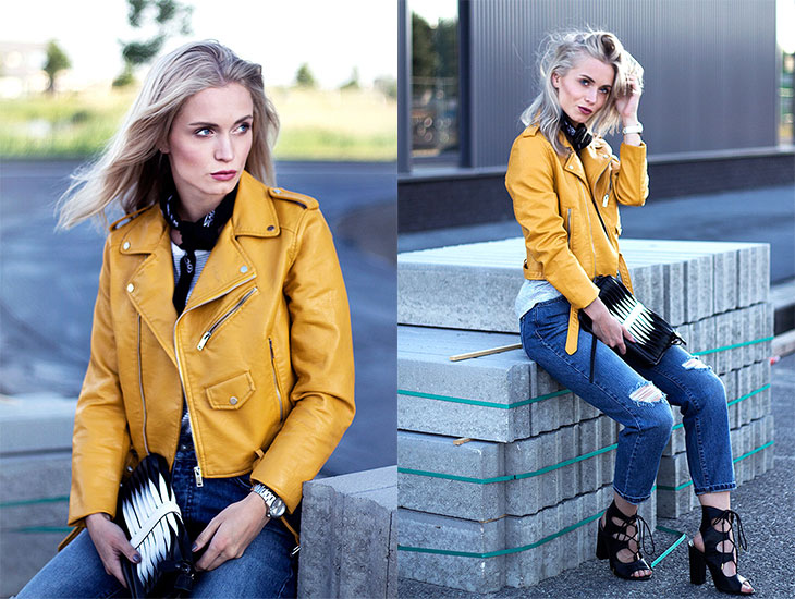 Fashion Attacks outfit ootd Just a touch of Yellow biker jacket