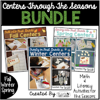 Math and Literacy Centers through the Seasons - Fall, Winter, Spring Centers