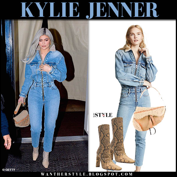 Kylie Jenner in blue denim zip iro jumpsuit and snake print yeezy boots street style november 29