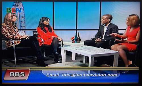Anna-Christina and Dawattie Basdeo live TV interview on the BEN Breakfast Show on Ben TV Sky Channel 182