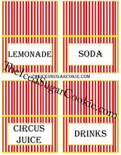 Circus Food Cards-Lemonade, Soda, Circus Juice, Drinks