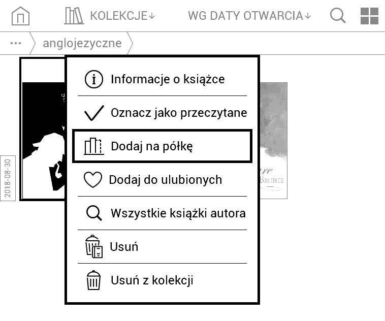 PocketBook Basic Lux 2 - menu kontekstowe wybranego e-booka z biblioteki