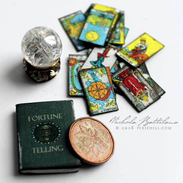 Crystal ball, Tarot cards, Fortune Telling books miniatures - Nichola Battilana pixiehill.com