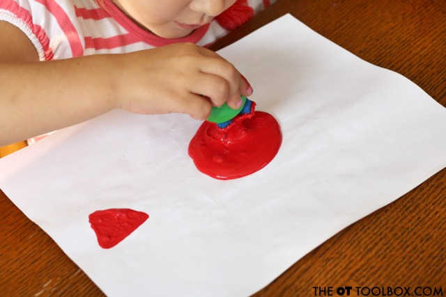 This is a fun visual perception activity for kids to work on skills using DIY stamps.